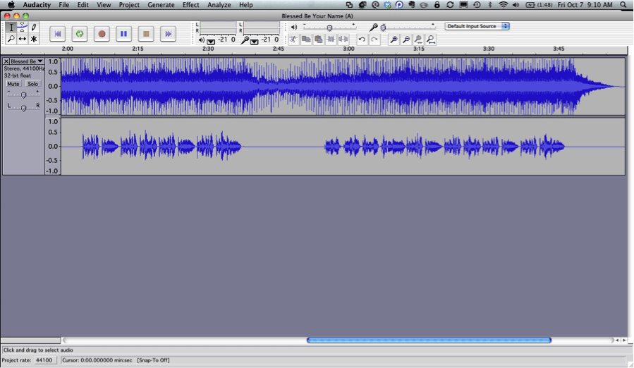Using Audacity to Alter and Link Backing Tracks to Create Worship