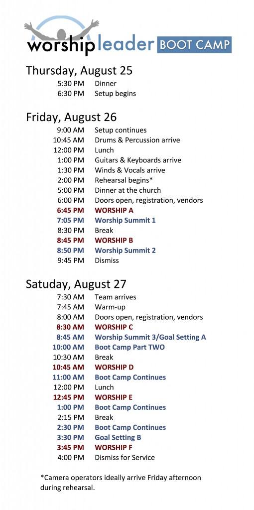 Mooresville Boot Camp Schedule